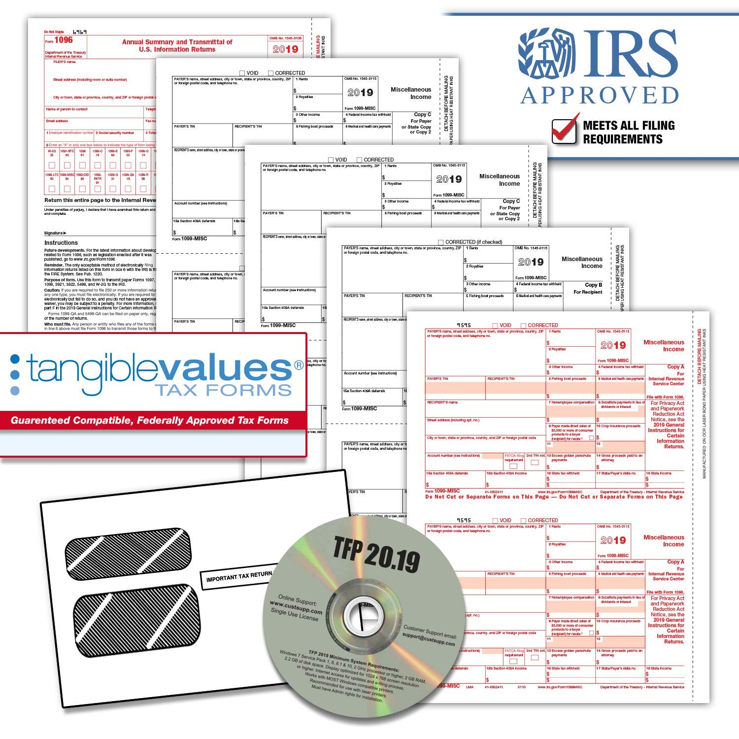 Tangible Values 1099 Misc Laser Forms (4-Part) Kit with Envelopes Plus TFP Software for 50 Individuals/Suppliers (2019) by Tangible Values Business Solutions