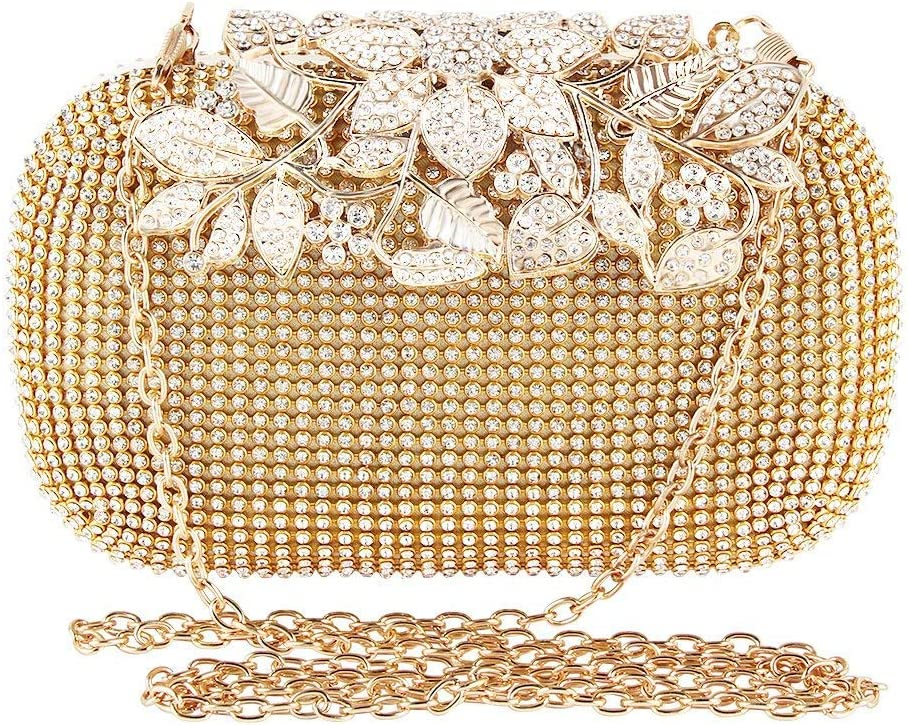 TOPCHANCES Triangle Full Rhinestones Womens Evening Clutch Bag Party Prom Wedding Purse Gold