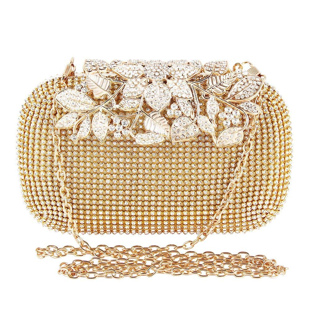 TOPCHANCES Womens Evening Crystal Cocktail Wedding Party Handbag Clutch Purse Wallet Elegant Evening Clutch Bags Rhinestone Floral Purses Bling Hard Box (Luxury Golden)