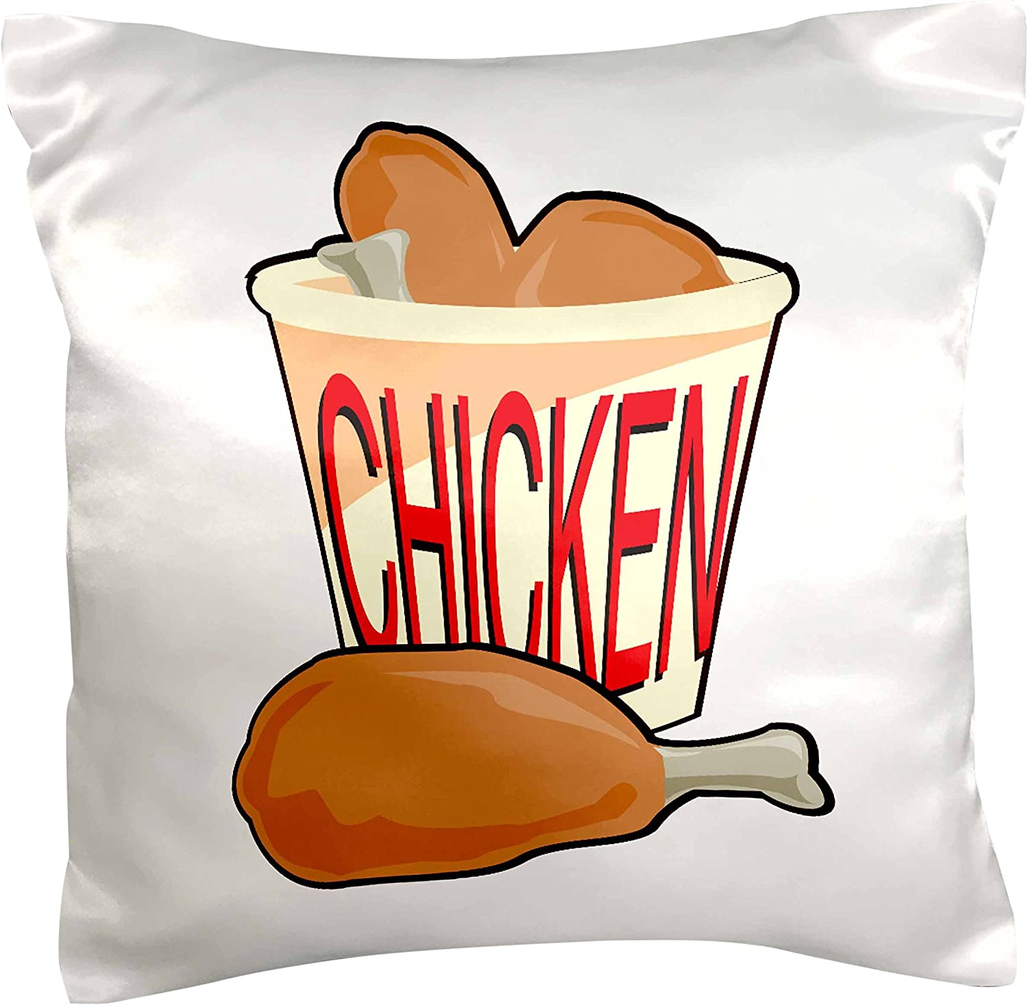 3dRose pc_150099_1 Bucket of Fried Chicken Food Design Pillow Case, 16
