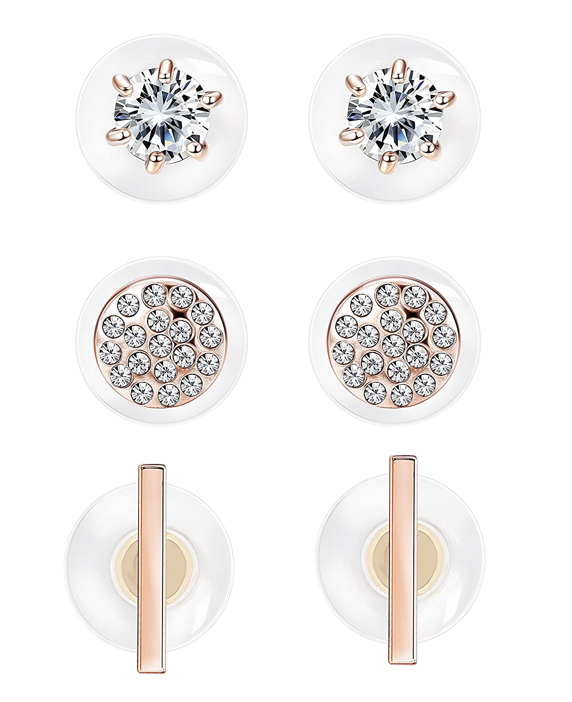 Milacolato 3 Pairs Lotus Flower Earrings Jackets For Women Girls