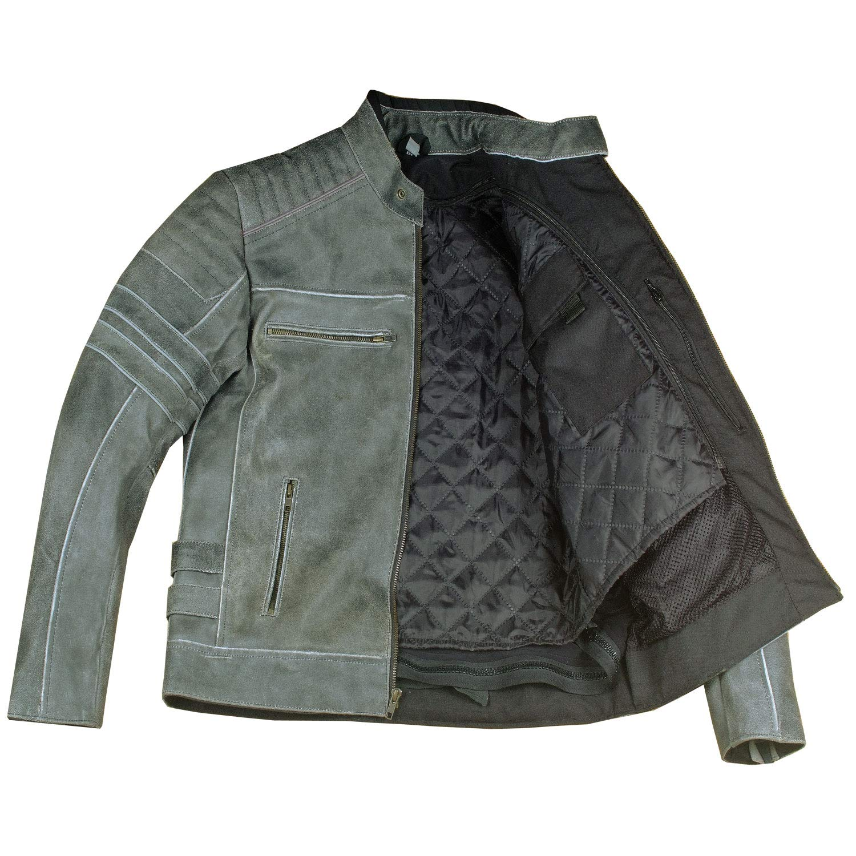 Mens SHADOW Motorcycle Distressed Cowhide Leather Armor Black Jacket Biker XL