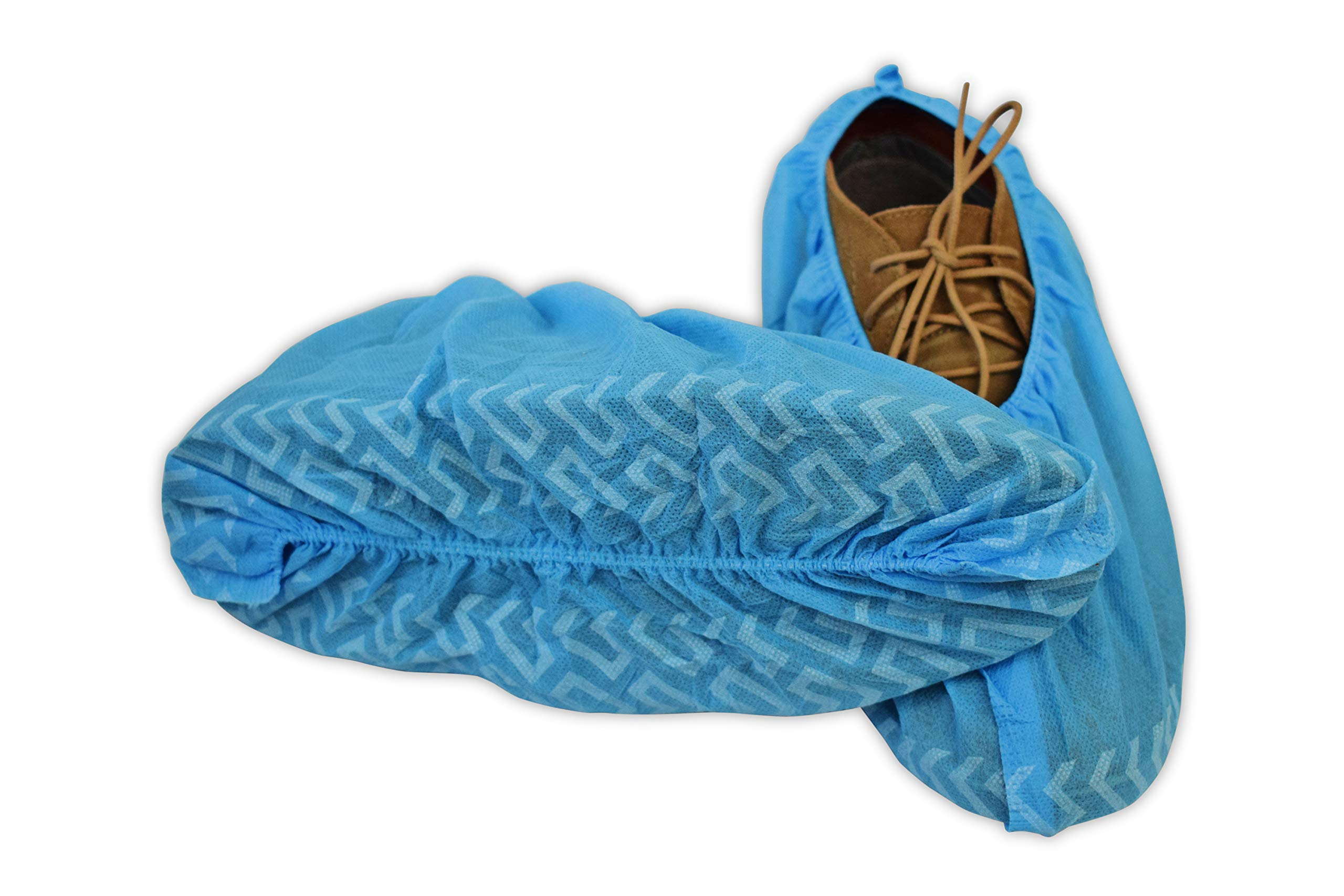 BER Products Disposable Shoe Covers, Non Slip, For Boots and Shoes, Professional Medical Grade, Recyclable, Indoors and Outdoors Use, Durable Interwoven Booties 100-Pack