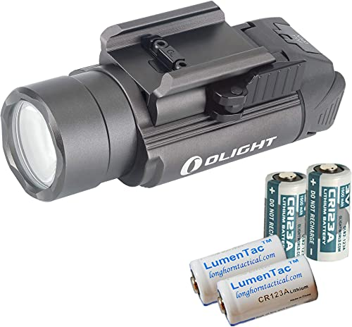 OLIGHT PL-2 PL2 Valkyrie 1200 Lumen Rail Mounted Pistol Light Bundle with 4X CR123 Batteries