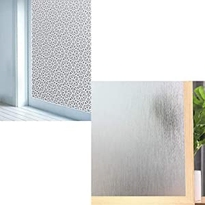 Privacy Window Film No Glue Frosted Glass Sticker for Home Office Static Anti-UV Window Paper Decorative Window Covering for Bathroom