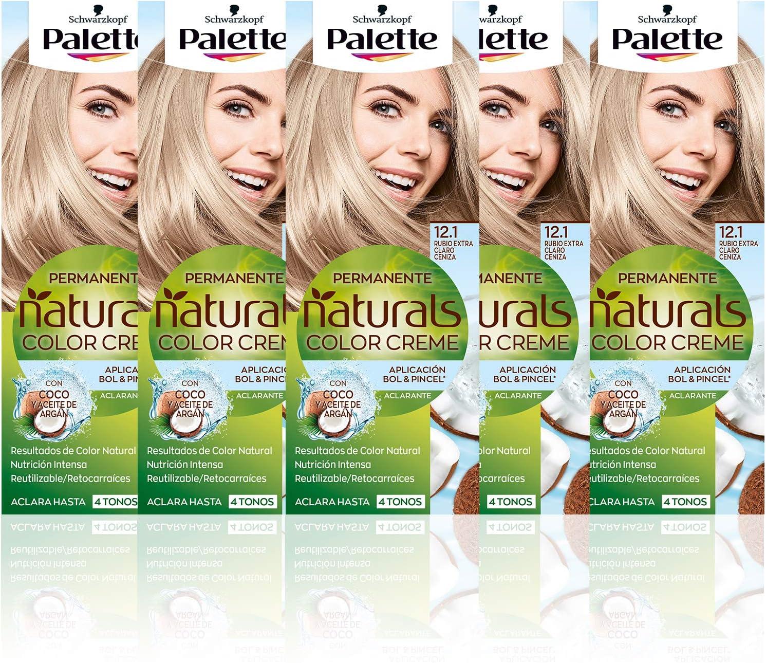 Schwarzkopf Palette Naturals Color Creme - Tono 12.1 cabello Rubio Extra (Pack de 5) - Coloración Permanente – Perfecta cobertura de canas – Colores ...