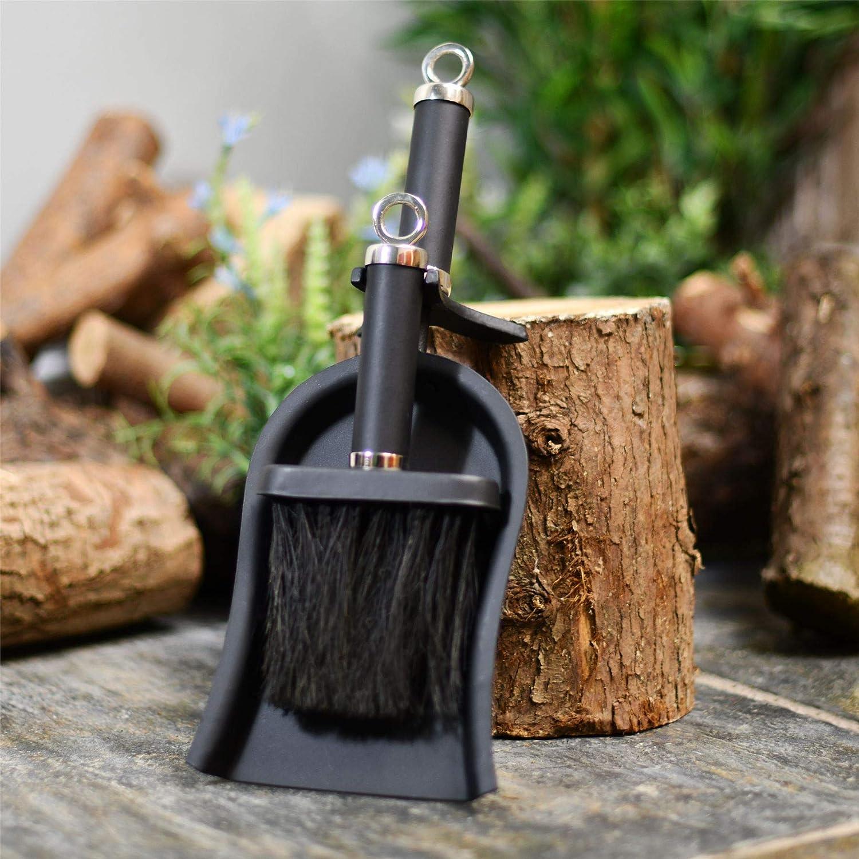 Modern Black /& Chrome Fireside Brush /& Pan Set