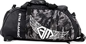 Gym Maniac GM 3-Way Gym Bag - Workout, Sport, Travel, Weekend and Overnight Duffle, Backpack, Crossbody, Shoulder Carry Bags - Fitness Accessories for Men and Women - Waterproof Gear Organizer - 30L