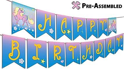 Unicorn Style Happy Birthday Banner