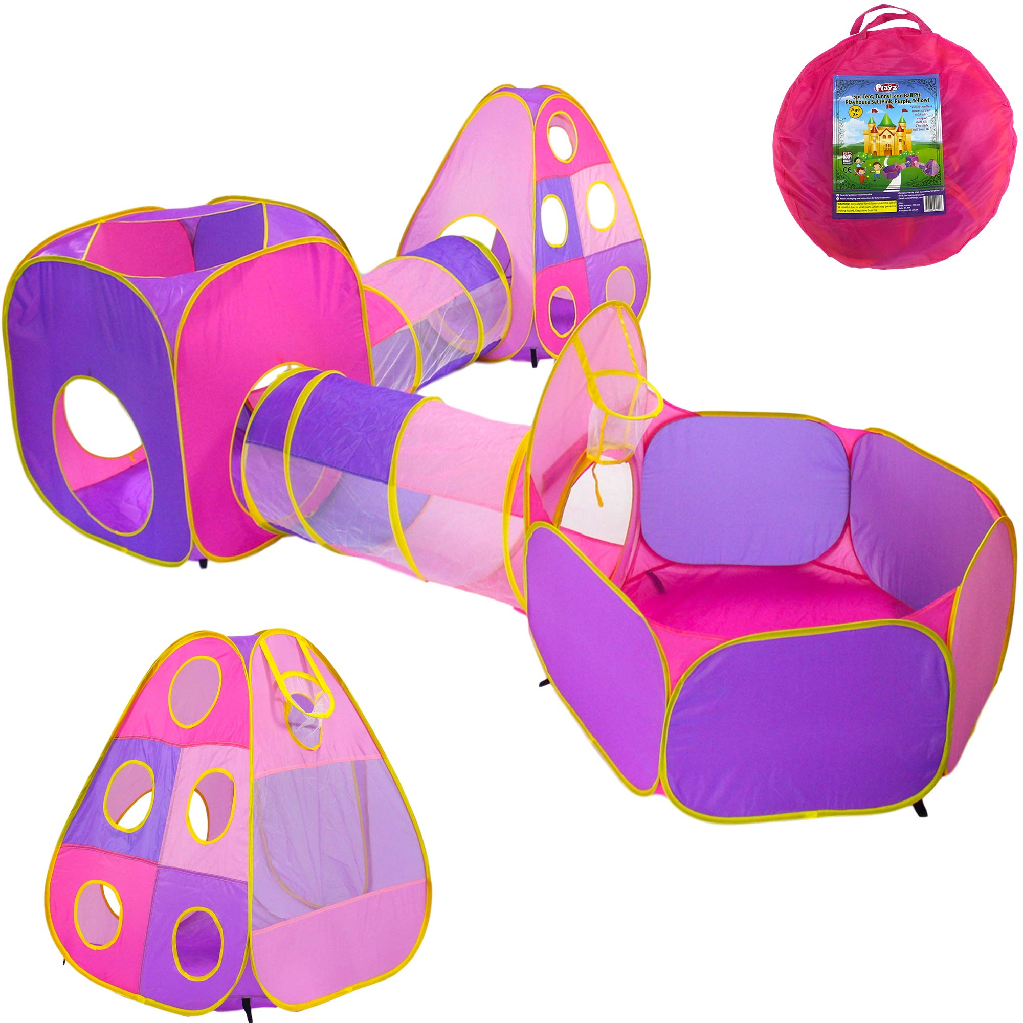 Playz 5pc Children's Playhouse Popup Tents, Tunnels, and Basketball Hoop for Girls, Boys, Babies, Kids and Toddlers with Zipper Storage Case for Indoor & Outdoor Use (Yellow, Pink, Purple) by Playz