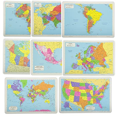 Painless Learning Educational Placemats Sets Usa World Europe