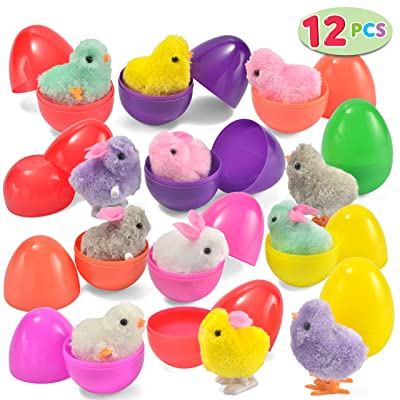 JOYIN 12 Toys Filled Easter Eggs, Assorted Prefilled 12 Easter Eggs with 12 Wind-Up Cute and Colorful Bunnies and Chicken Toys: Kitchen & Dining
