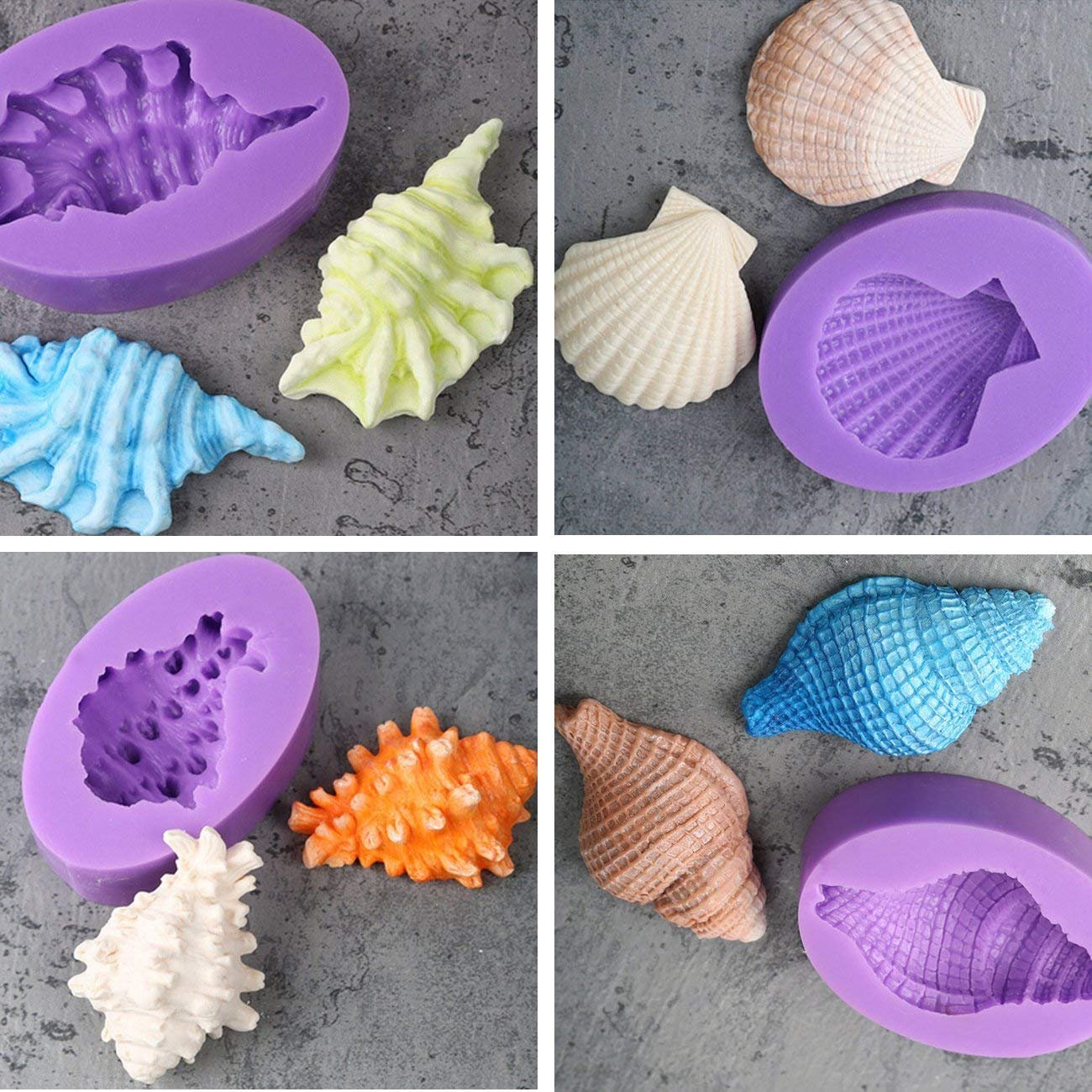 Anyana Seashell Starfish Sea Urchin Seagull mold Fondant silicone Mould for gum paste Sugar paste cake decorating cupcake topper decor set of 7pcs by Anyana (Image #8)