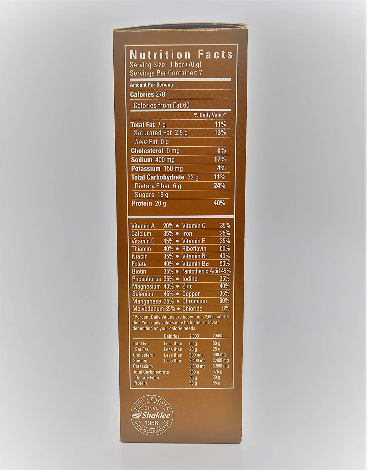 Shaklee 180 Peanut Butter Chocolate Chip Meal-in-a-Bar,7 bars- 2.5 Oz