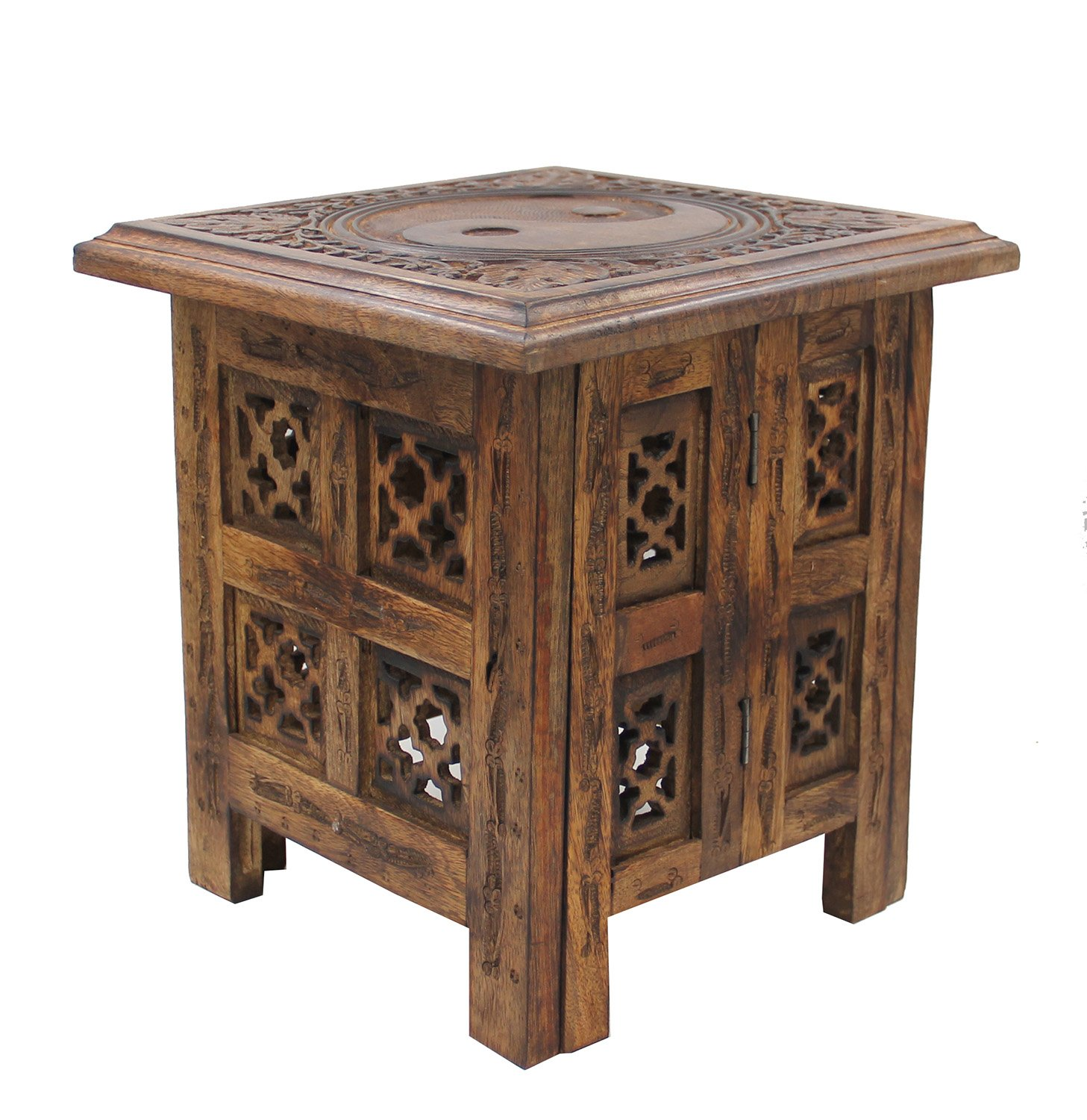 Bon Solid Mango Wood Hand Carved Prayer Puja Shrine Altar Meditation Table  Durable