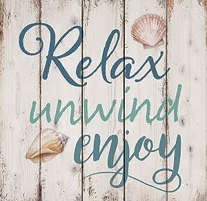 P. GRAHAM DUNN Relax Unwind Enjoy Seashells Design White Wash 18 x 17 Inch Solid Pine Wood Pallet Wall Sign Plaque