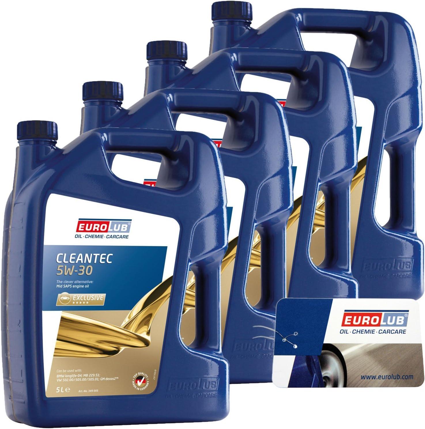 4x 5 Litre 20 Litres Eurolub Cleantec Mid Saps Engine Oil Sae 5 W 30 Engine Oil Auto