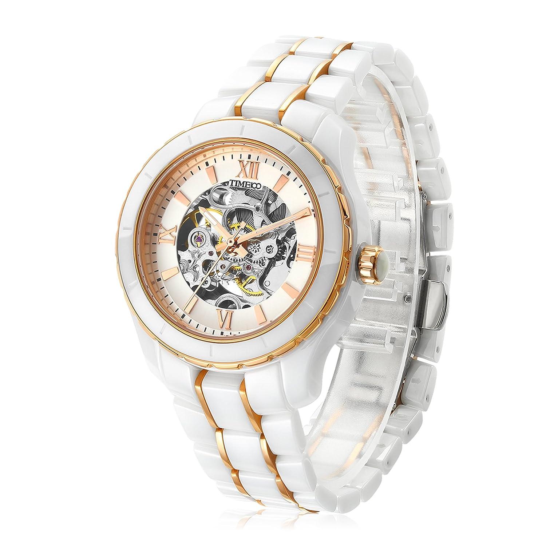 Time100 Herren-Armbanduh mechenische Uhr Automatik aristokratische Uhr Keramikarmband 5 Bar Wasserdicht Weiß Klasse