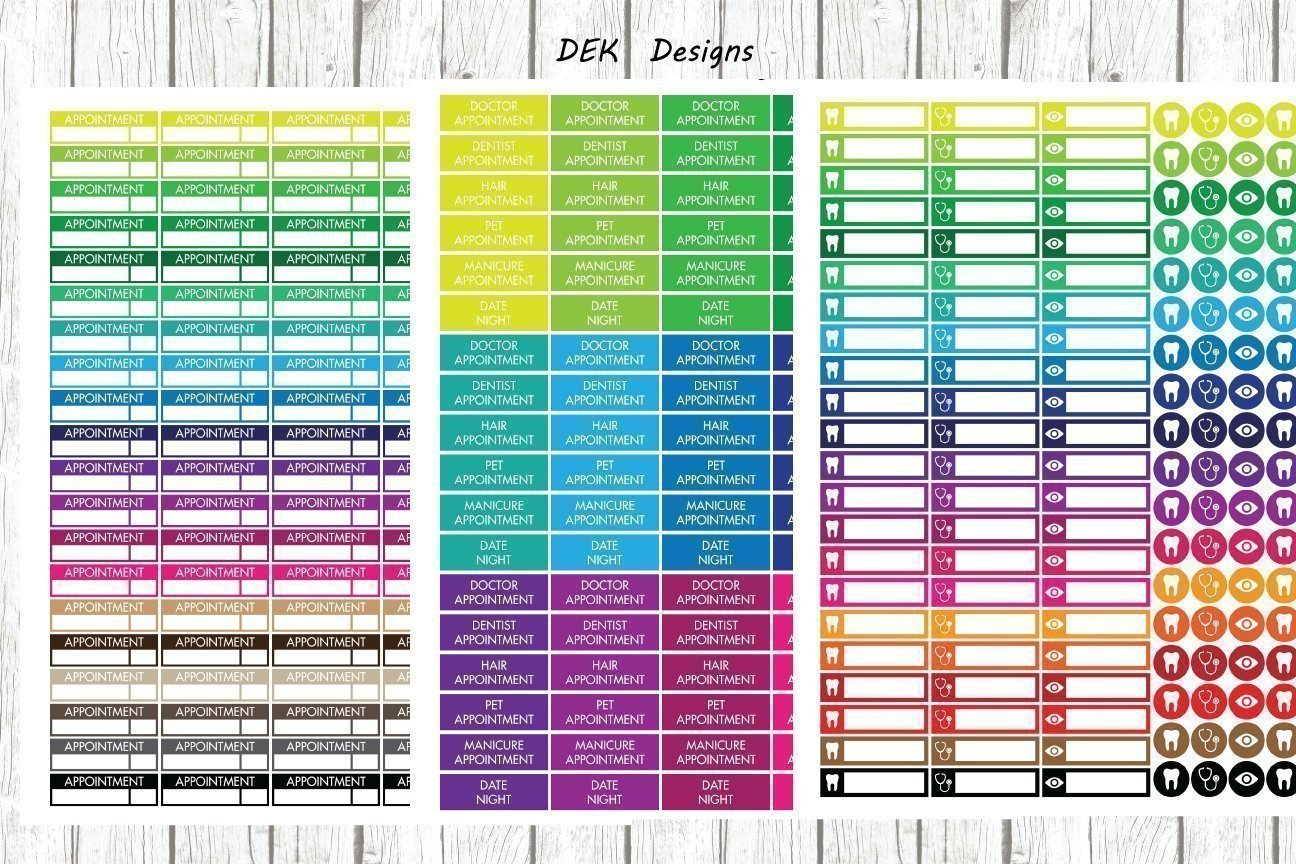 Planner stickers, calendar stickers, ''Appointment'', 3 full size sheets included. Sized to fit most planners, kiss cut on matte sticker paper.