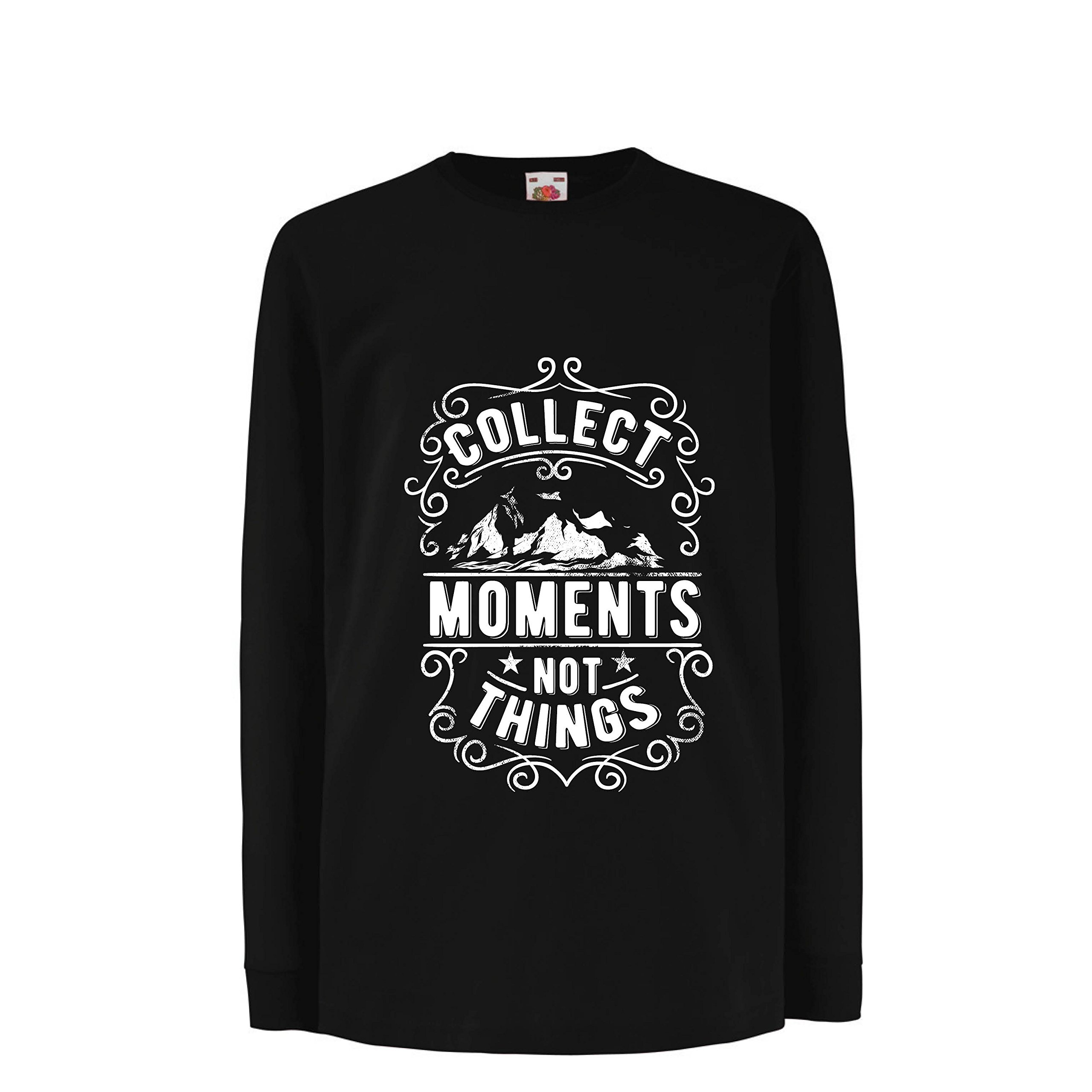 lepni.me Boys/Girls T-Shirt Inspirational Travel Quotes,Collect Moments not Things (7-8 Years Black Multi