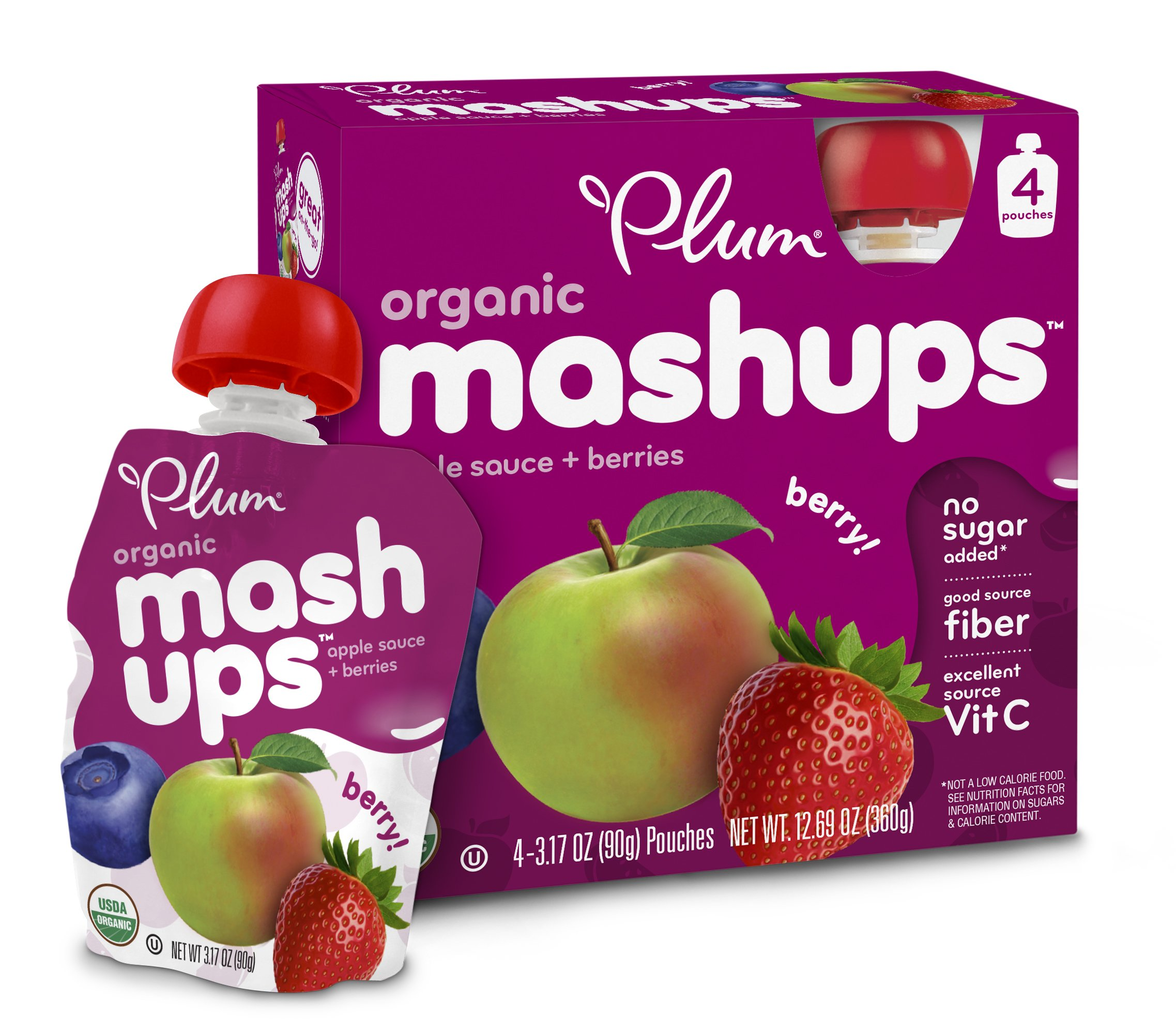 Plum Kids Organic Fruit Mashups Mixed Berry 3.17 Ounce 4 Count (Pack Of 6) 16