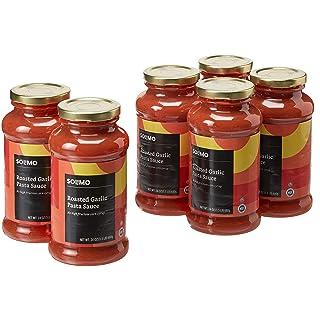Amazon Brand - 24 oz Solimo Pasta Sauce, Roasted Garlic (Pack of 6)
