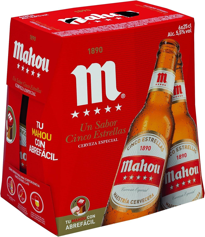 Mahou 5 Estrellas Cerveza Dorada Lager, 5.5% de Volumen de Alcohol ...