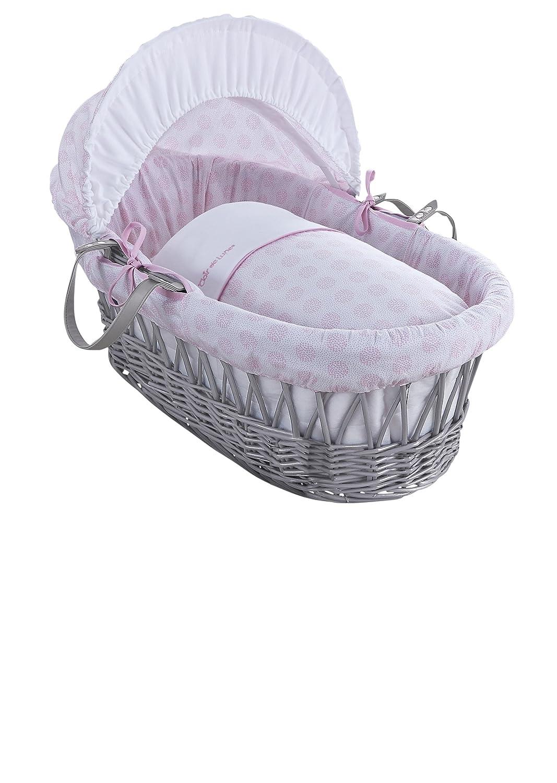 Clair de Lune Speckles grigio vimini Inc. Biancheria, materasso e cappuccio regolabile (rosa) CL5856GPK