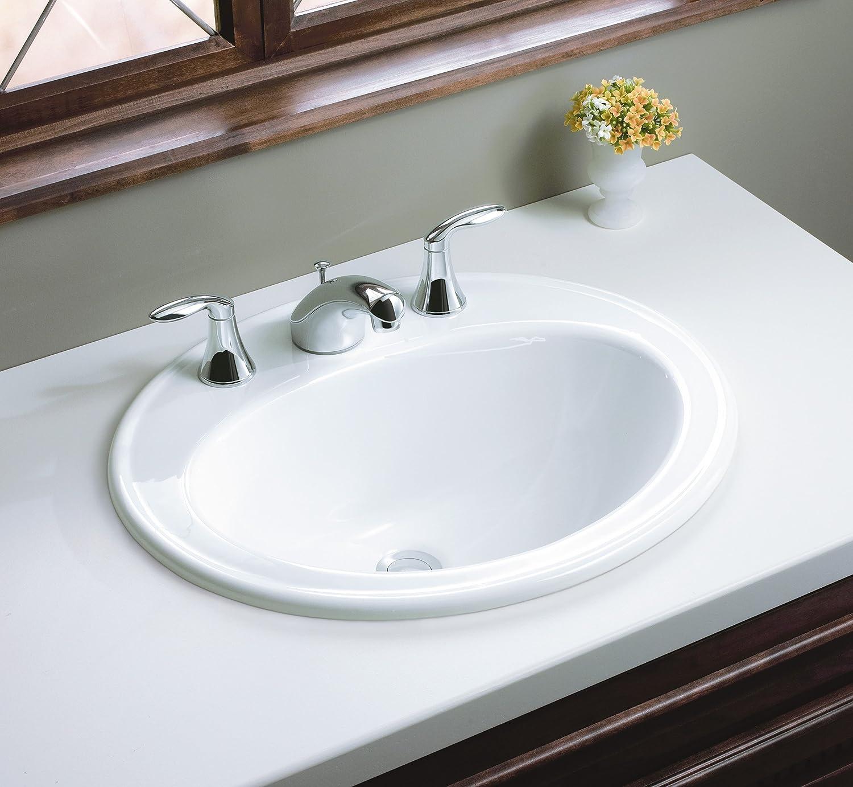 KOHLER K-2196-8-0 Pennington Self-Rimming Bathroom Sink, White ...