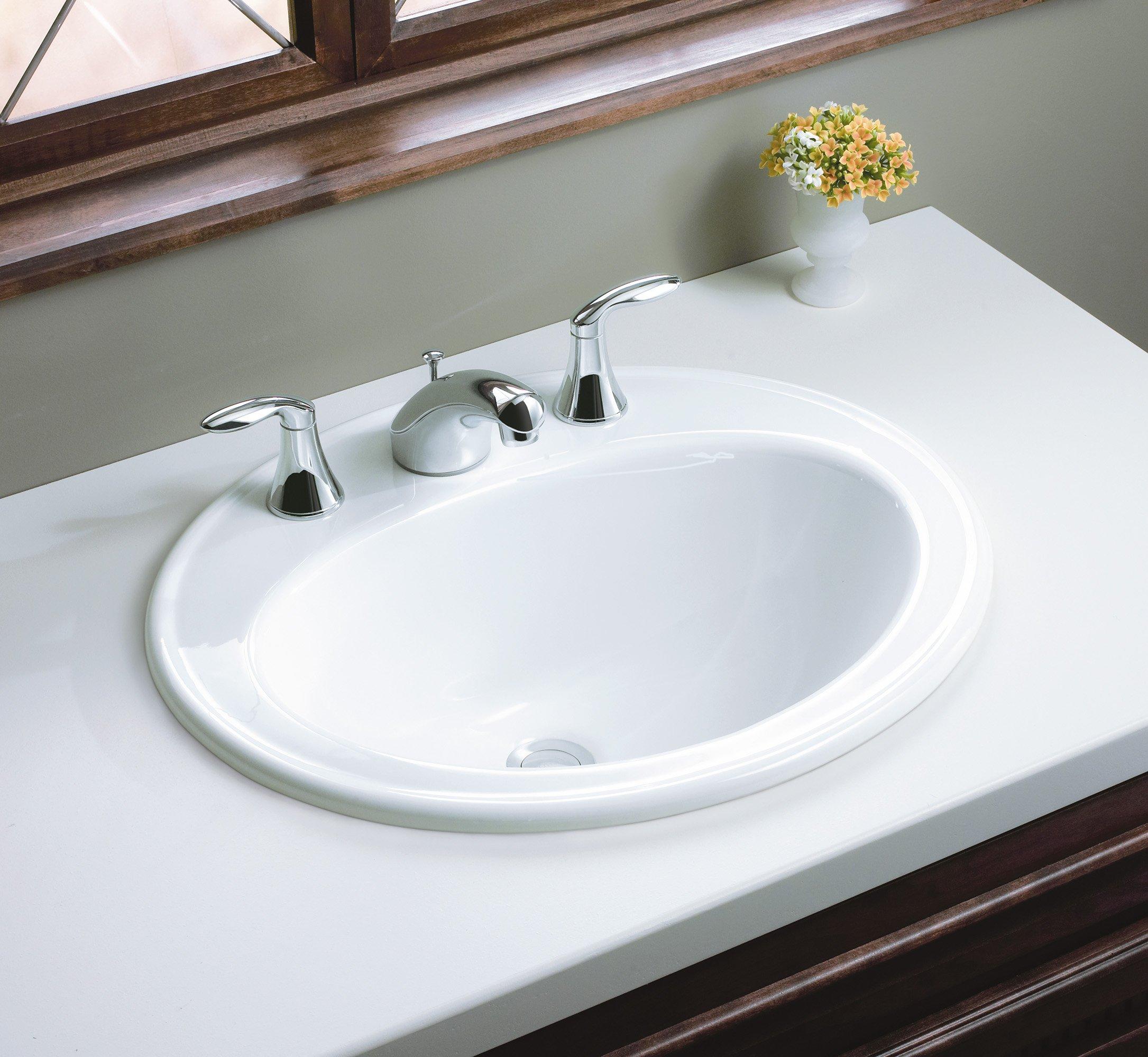 KOHLER K-2196-8-0 Pennington Self-Rimming Bathroom Sink, White by Kohler (Image #3)
