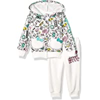 Hello Kitty Baby Girls 2 Piece Zip-up Hoodie and Pant Active Set, Cream, 24M