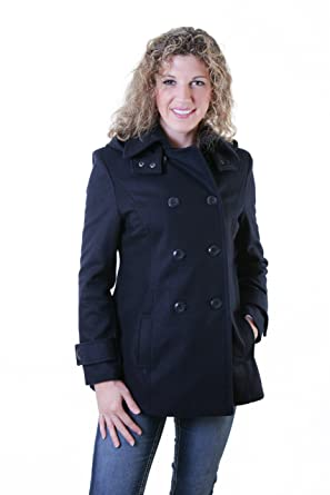 07a9f2da45a3d Women Pea Coat Jacket Premium Wool Double Breasted with Detachable Hood  Navy color Size S -