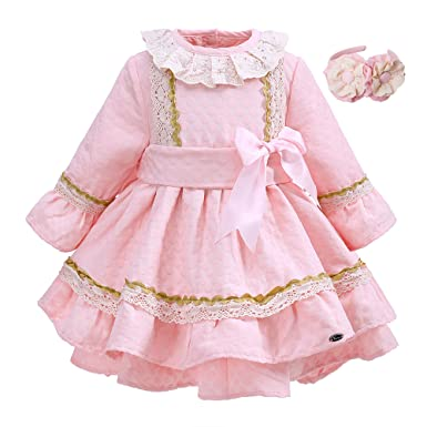 bbfcceabd Lajinirr Newest Pink Bountique Printed Autumn Girls Dress with Bow with  Handmade Headband Kids Dress Kid Clothing, 3Years: Amazon.co.uk: Clothing