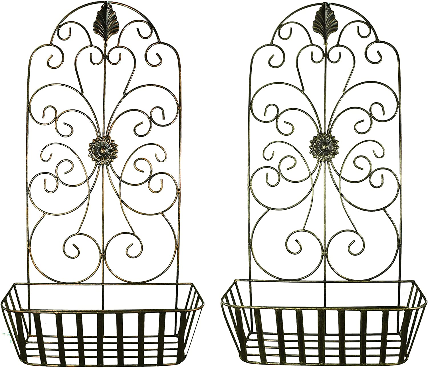 Benjara Metal Wall Decor with Intricate Design and Wired Basket, Assortment of Two, Gray