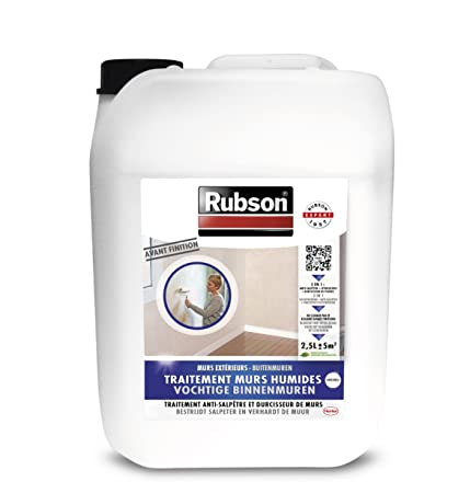 Elegant Rubson 1800290 Saltpetre Stopper For Interior Walls   2.5 L In Plastic  Container   Colourless
