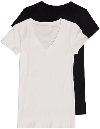 10c77ea13 2 Pack Zenana Women's Basic V-Neck T-Shirt Small Black, White at ...