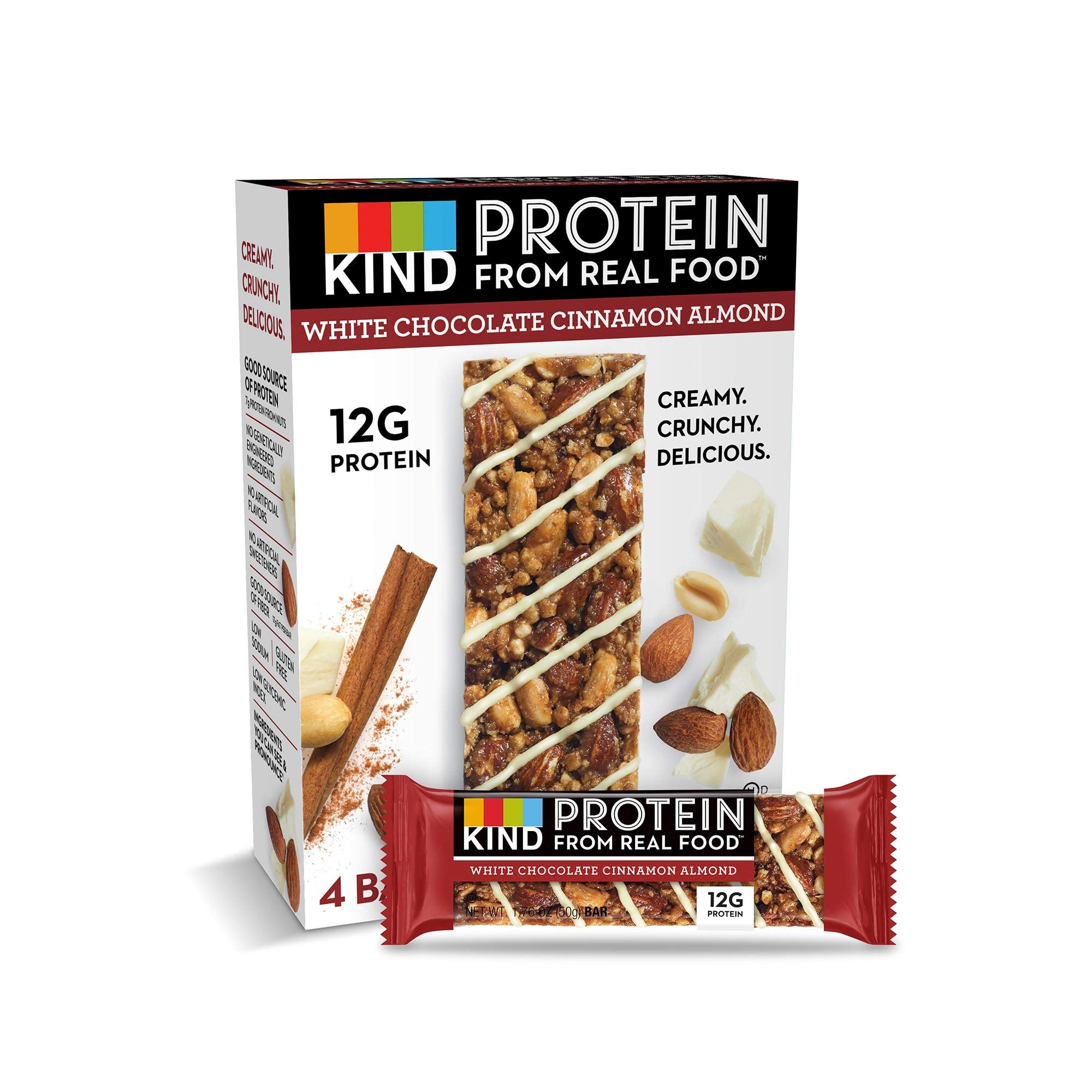 KIND Protein Bars, White Chocolate Cinnamon Almond, Gluten Free, 12g Protein,1.76 Ounce, 24 Count by KIND