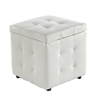Pouf Contenitore Design.Wink Design Portsmouth Pouf Contenitore Pelle Ecologica Bianco
