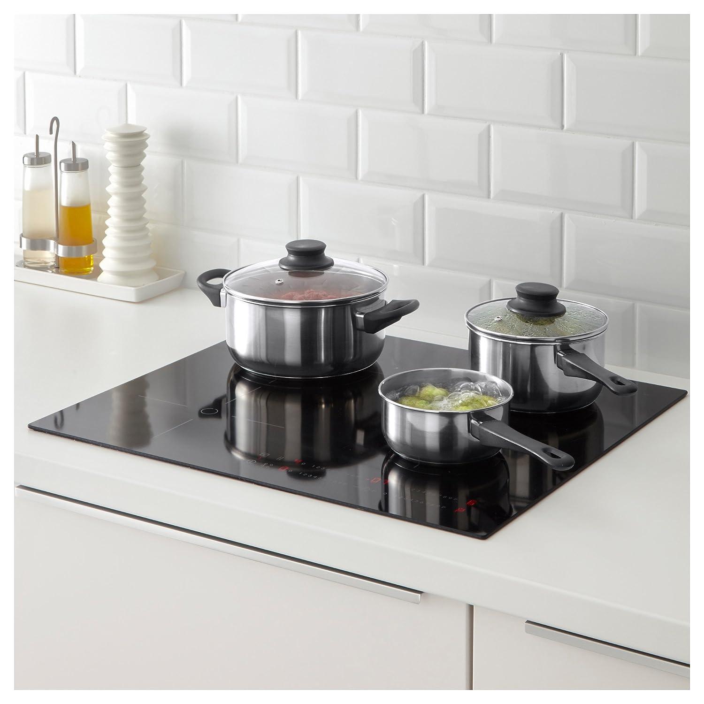 Ikea 5 Piezas. Annons - Batería de Cocina de inducción con Tapa de Cristal (Acero Inoxidable)