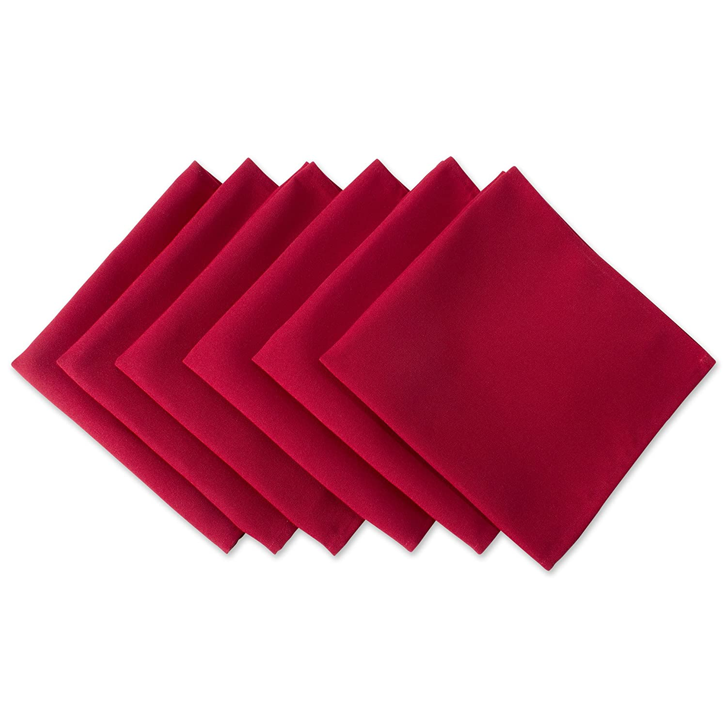 """DII Wrinkle Resistant 20x20"""" Polyester Napkin, Pack of 6, Red - Perfect for Brunch, Catering Events, Thanksgiving, Dinner Parties, Christmas and Everyday Use"""