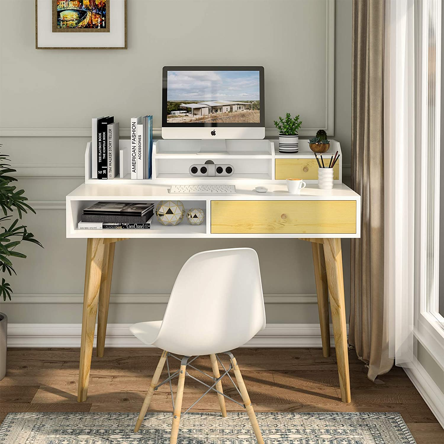 Itaar Writing Computer Desk with Drawers, Modern Work Study Table Desk with Storage Shelves & Solid Legs for Home Office, White