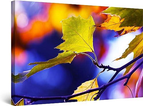 Startonight Canvas Wall Art Macro Leaf Photo Blue Purple Large Decor Framed 32″ x 48″