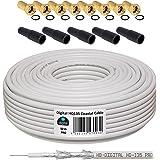 50m 130dB Koaxial Kabel HB-DIGITAL Set SAT-Kabel inkl. 10 F-Steckern vergoldet und 5 Schutztüllen, 50m Koaxkabel für Satellitenempfang, Schirmungsmaß 130dB, bester Empfang für HDTV, 3D, FullHD, Ultra HD, HD 4K2K, UHDTV