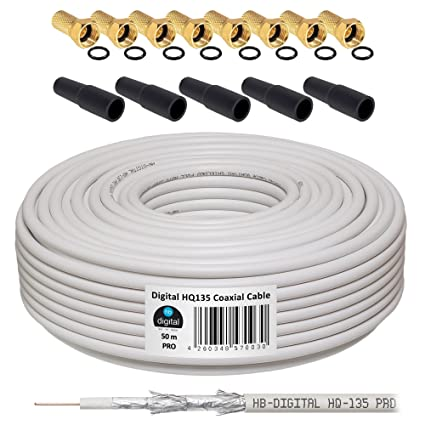 HB-DIGITAL Cable Coaxial de HB Digital Set SAT de cable con conectores F dorados