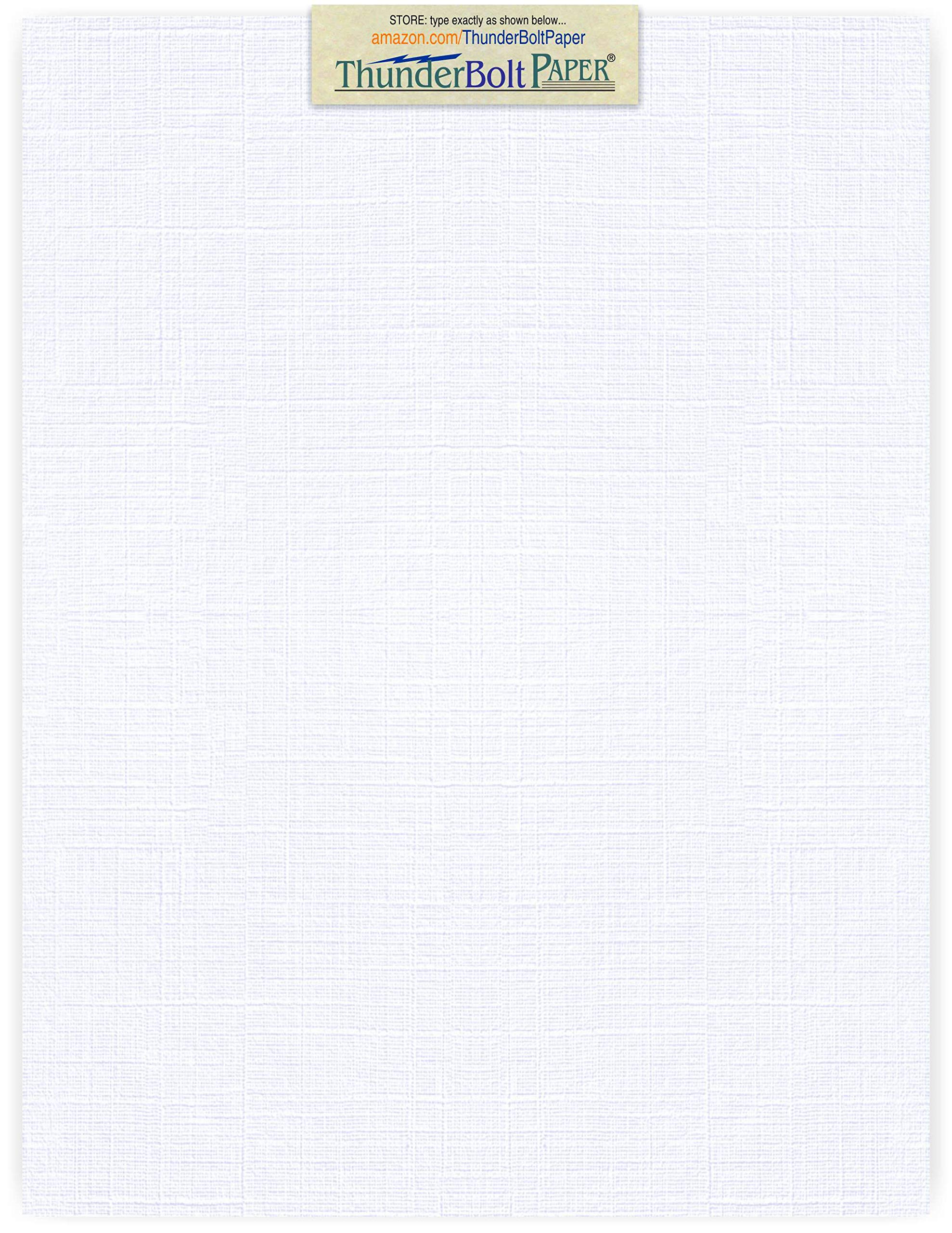 100 Bright White Linen 80# Cover Paper Sheets - 8.5'' X 11'' (8.5X11 Inches) Standard Letter|Flyer Size - 80 lb/Pound Card Weight - Fine Linen Textured Finish - Quality Cardstock by ThunderBolt Paper