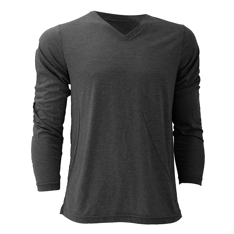 Canvas Mens Triblend Long Sleeve V-Neck T-Shirt