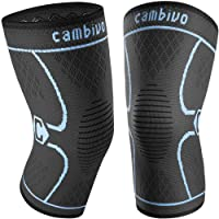 CAMBIVO 2 Pack Knee Brace, Knee Compression Sleeve Support for Men and Women, Running, Hiking, Arthritis, ACL, Meniscus Tear, Sports