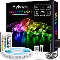 Sylvwin Tiras LED, Tiras de Luces LED RGB de 5m con Control Remoto,Tiras de Luz LED con 16 Cambios de Color y 4 Modos…