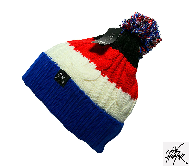 New Warm Bobble Beanie Hot Winter Strickmütze Multi Farbe Weihnachts Geschenk 2015Ski Hat Turn Up