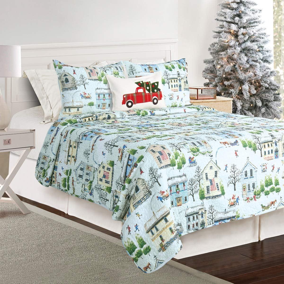 James Home Winter Village King Quilt Set Multicolor
